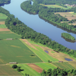 aerial view of Connecticut River and agricultural fields