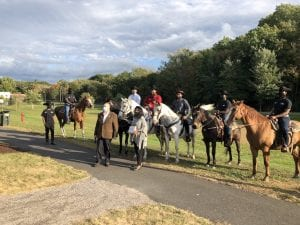 Ebony Horsewomen's Junior Mounted Patrol with founder Pat Kelly at the Connecticut Greenways Awards in October 2020