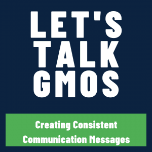 let's talk GMOs text on blue and green background