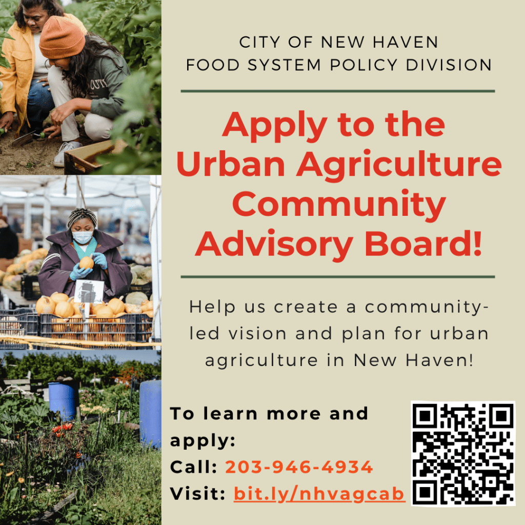 Urban Agriculture Advisory Board Flyer with picture of garden, people gardening and a woman picking out a pumpkin