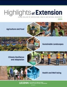 Highlights of Extension report cover with blue bars and photos of agriculture, health, and sustainability