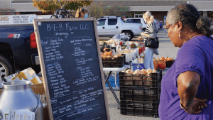woman reading sign at farmers market