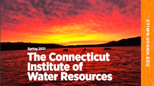 bright pink sunset over lake:CIWR spring 2021 newsletter cover: