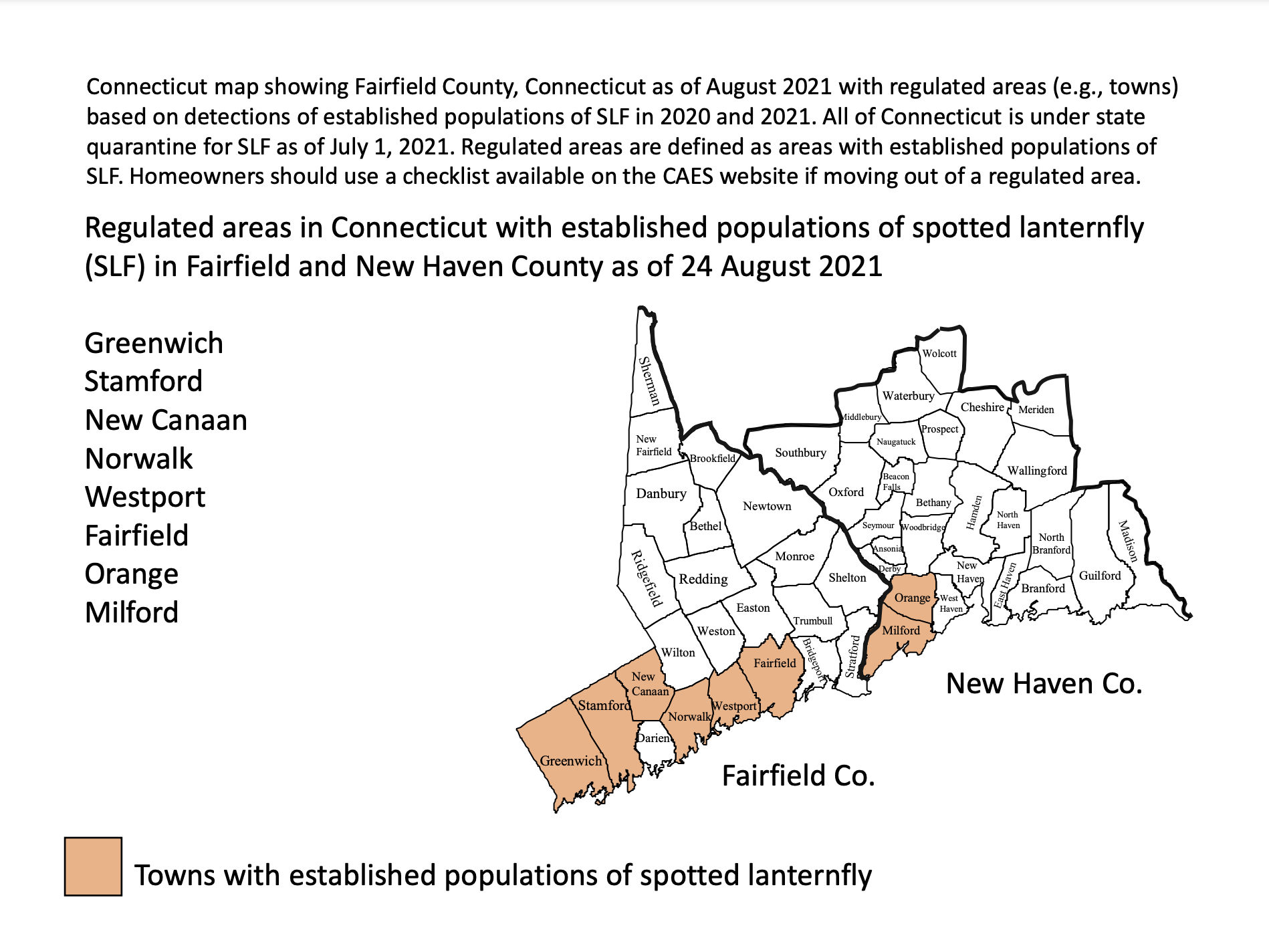 map of spotted lanternfly locations in Connecticut